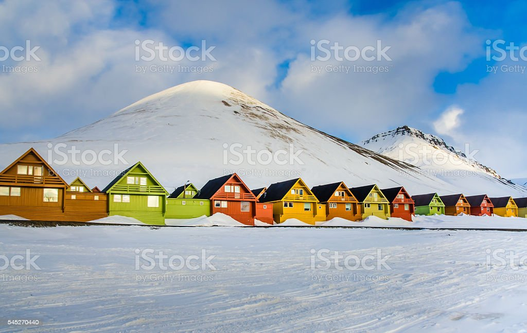 Colorful houses, Longyearbyen, Spitsbergen, Svalbard, Norway stock photo