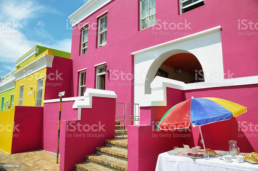 Colorful houses of Bo Kaap stock photo