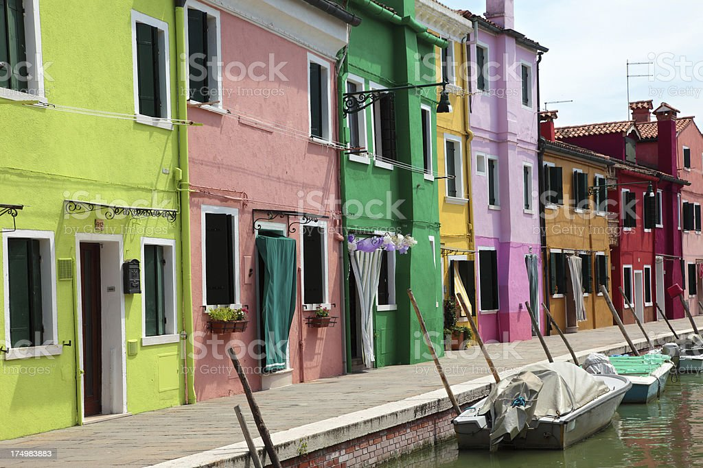 Colorful houses of Brano island royalty-free stock photo