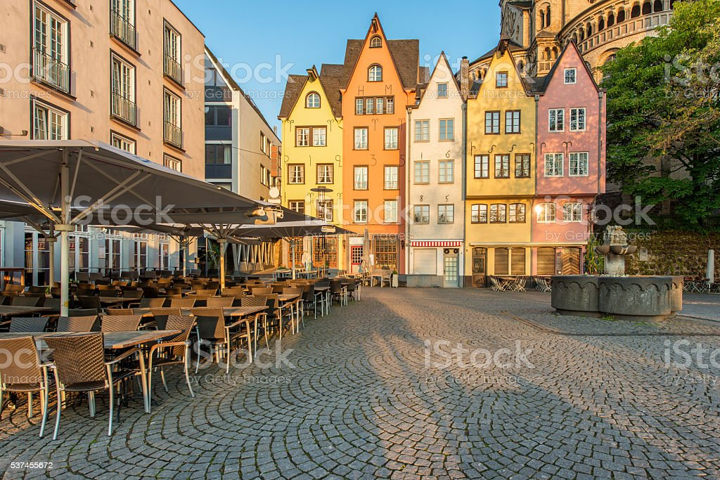 Colorful houses of Cologne. Cologne, Germany. stock photo