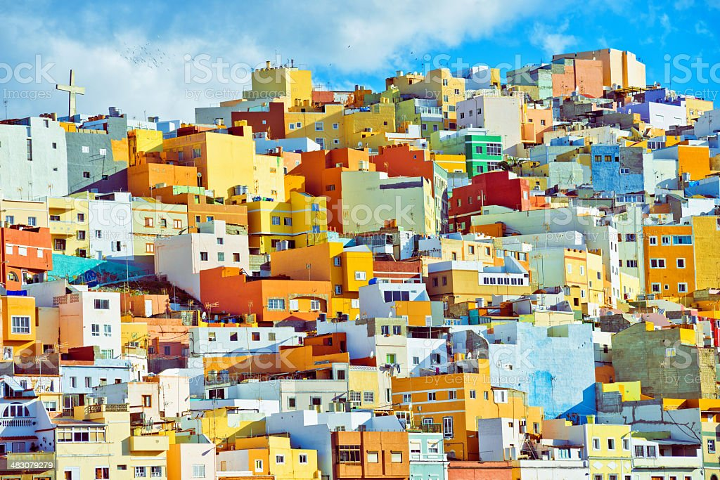 Colorful Houses of Las Palmas de Gran Canaria stock photo