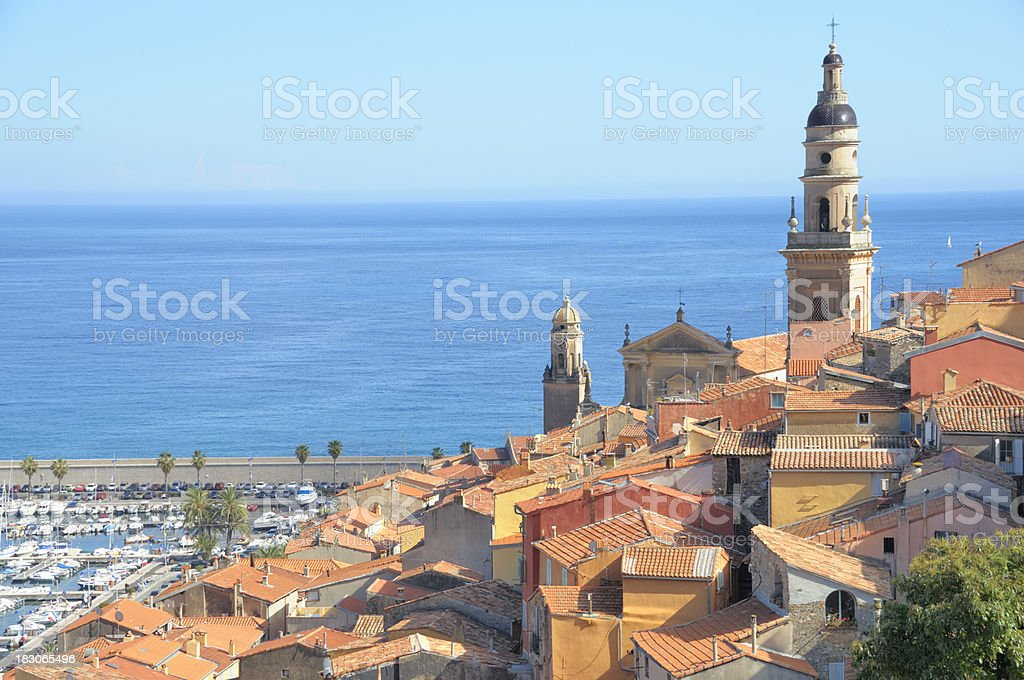 Colorful houses of Menton royalty-free stock photo