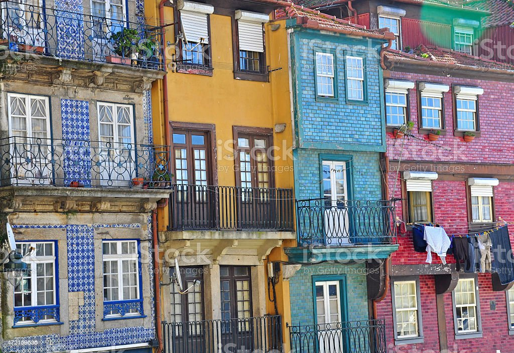 Colorful houses of Oporto stock photo