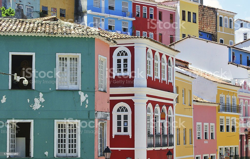 colorful houses of Pelourinho stock photo