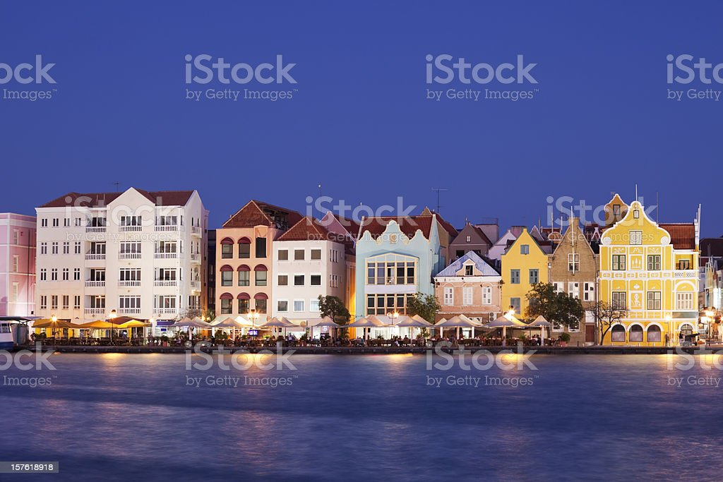 Colorful houses of Willemstad, Curaçao at night royalty-free stock photo