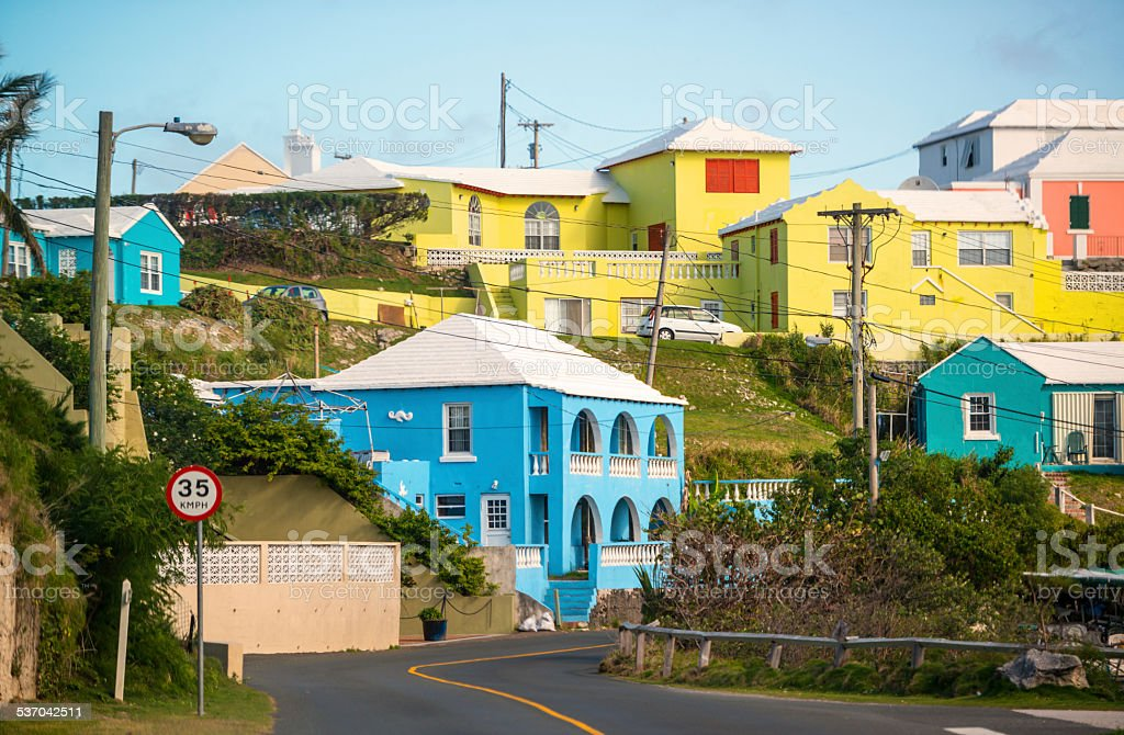 Colorful Houses on Bermuda stock photo
