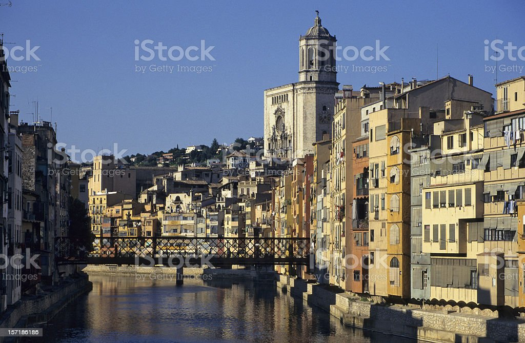 Colorful houses on Onyar River, Girona, Catalonia, Spain stock photo