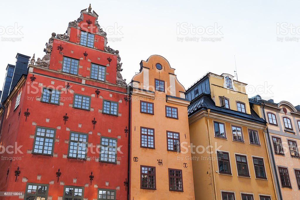 Colorful houses on Stortorget, Stockholm stock photo