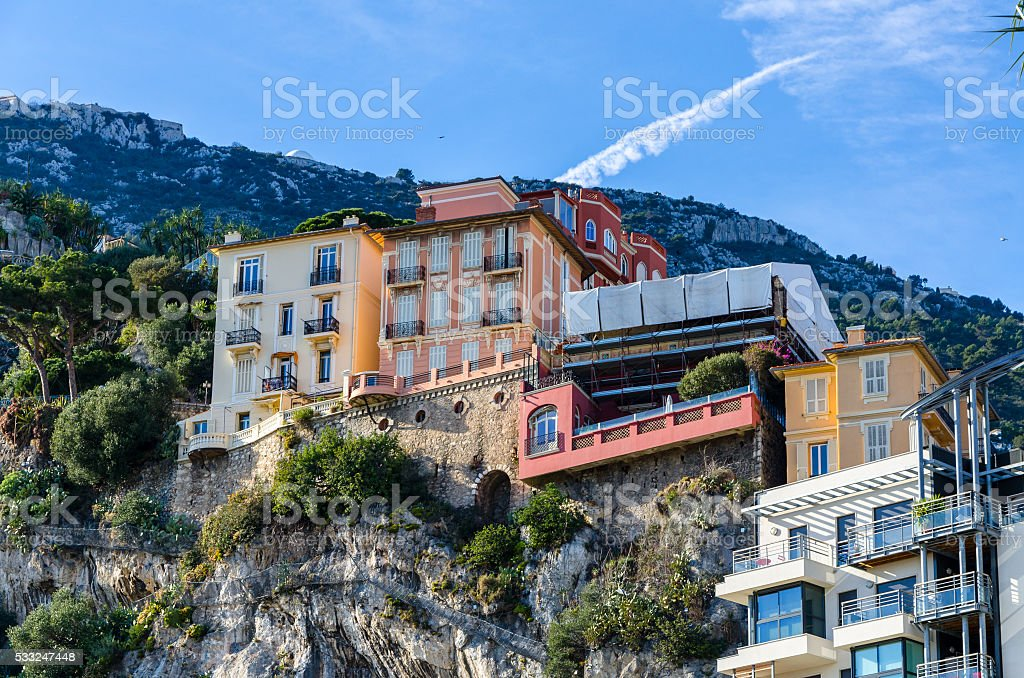 Colorful houses on the hills of Monaco stock photo
