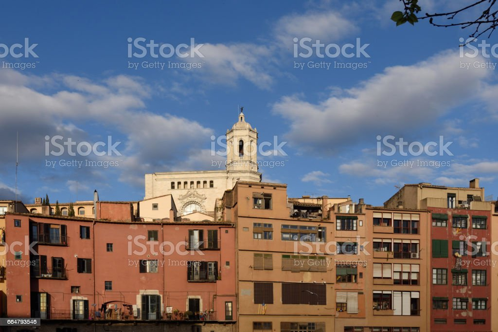 Colorful houses on the river Onyar and Cathedral, Girona, Catalonia, Spain stock photo