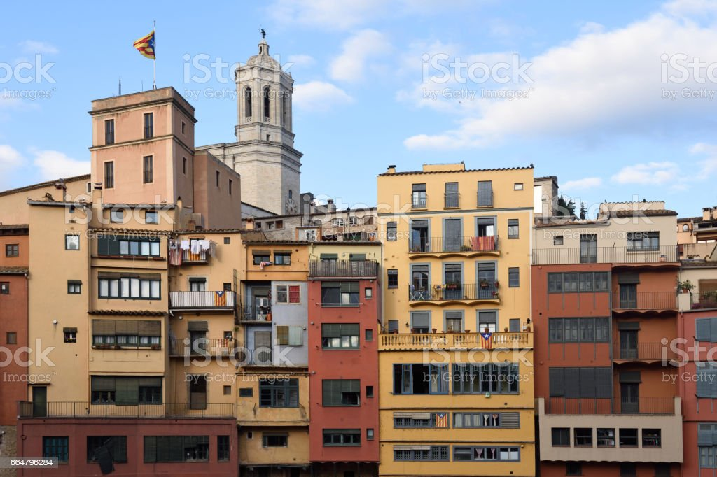 Colorful houses on the river Onyar and Cathedral Girona, Catalonia, Sp stock photo