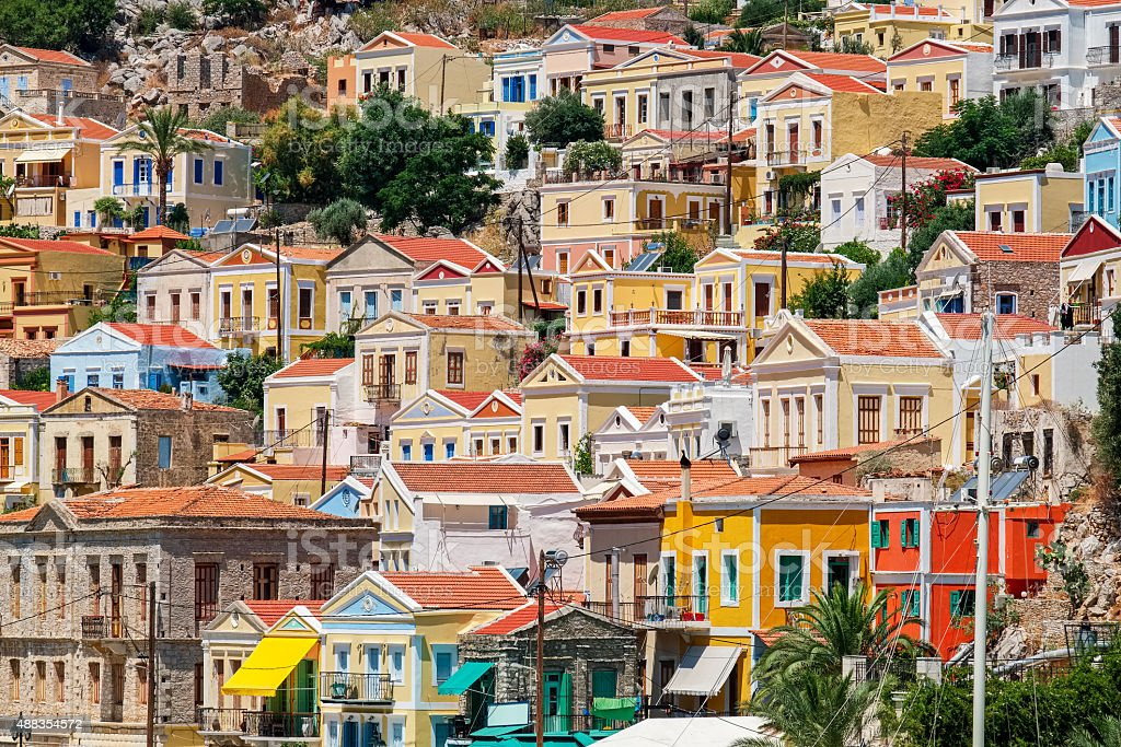 Colorful houses. Symi, Greece stock photo