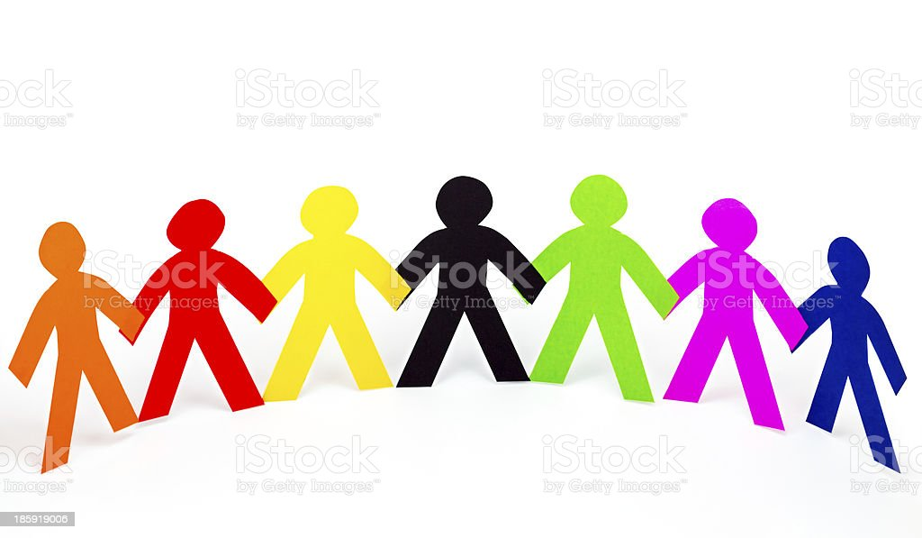 colorful human chain paper cut stock photo
