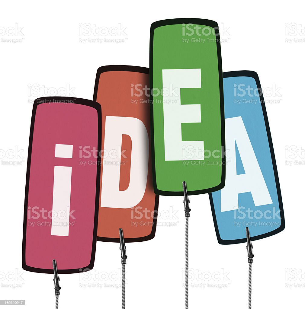 Colorful Idea Tag  in Wire Clamp 4 (Clipping Path) royalty-free stock photo