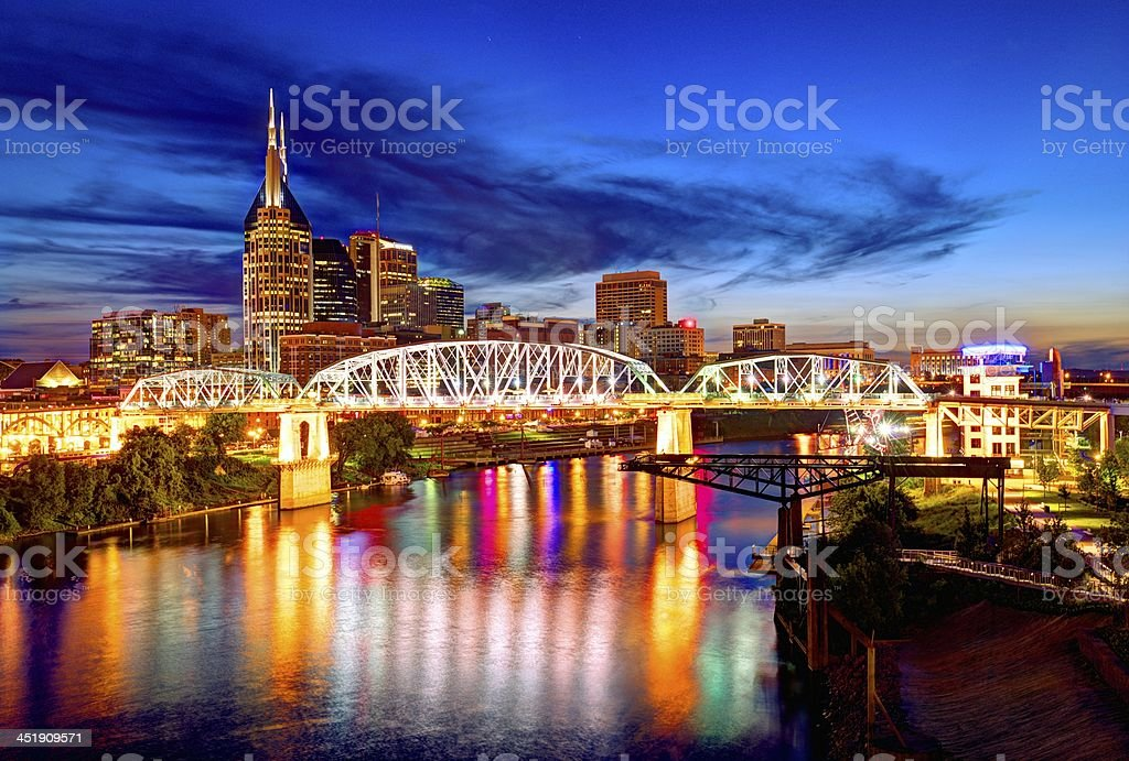 Colorful illuminated buildings of downtown Nashville stock photo