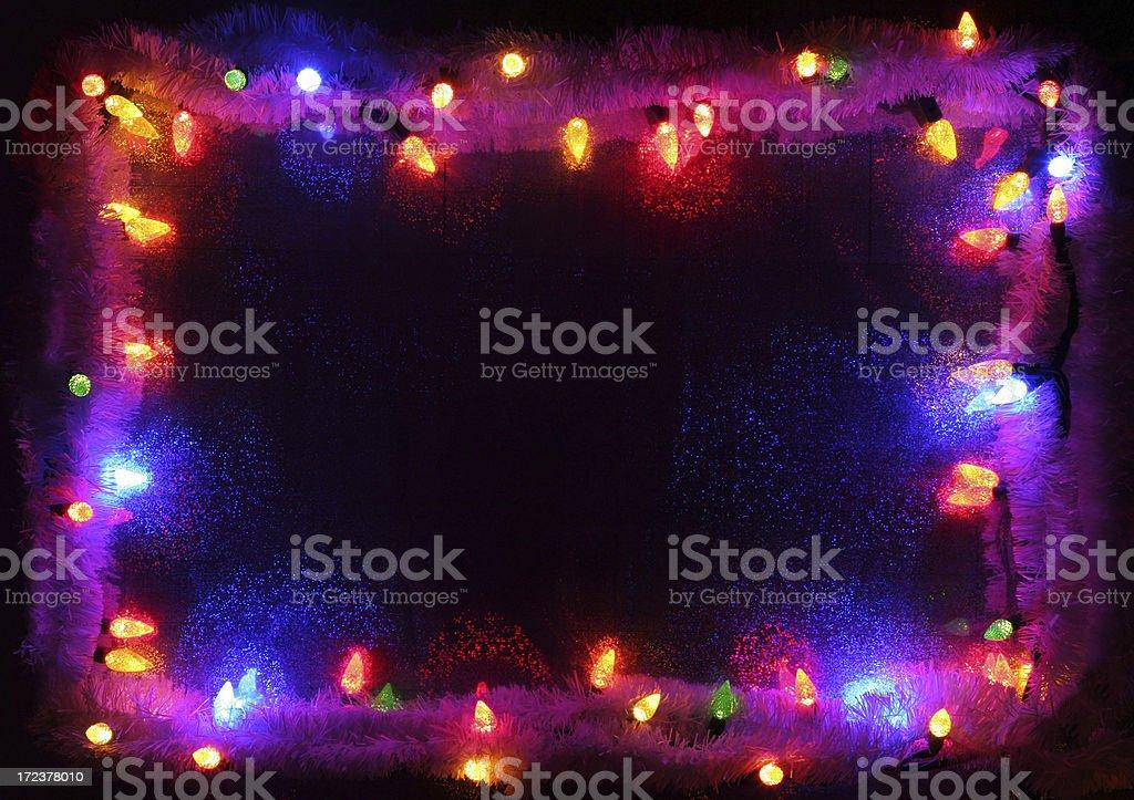Colorful Illuminated Xmas Lights Frame royalty-free stock photo