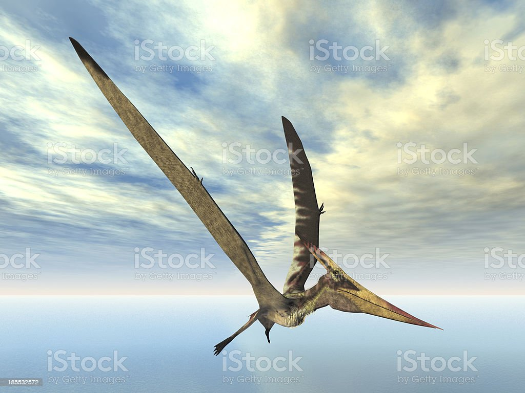 3D colorful illustration of a pterosaur flying over water stock photo
