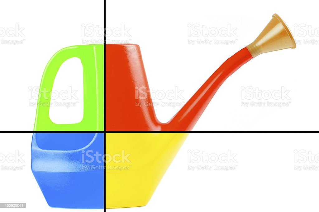 colorful illustration of a watering can stock photo