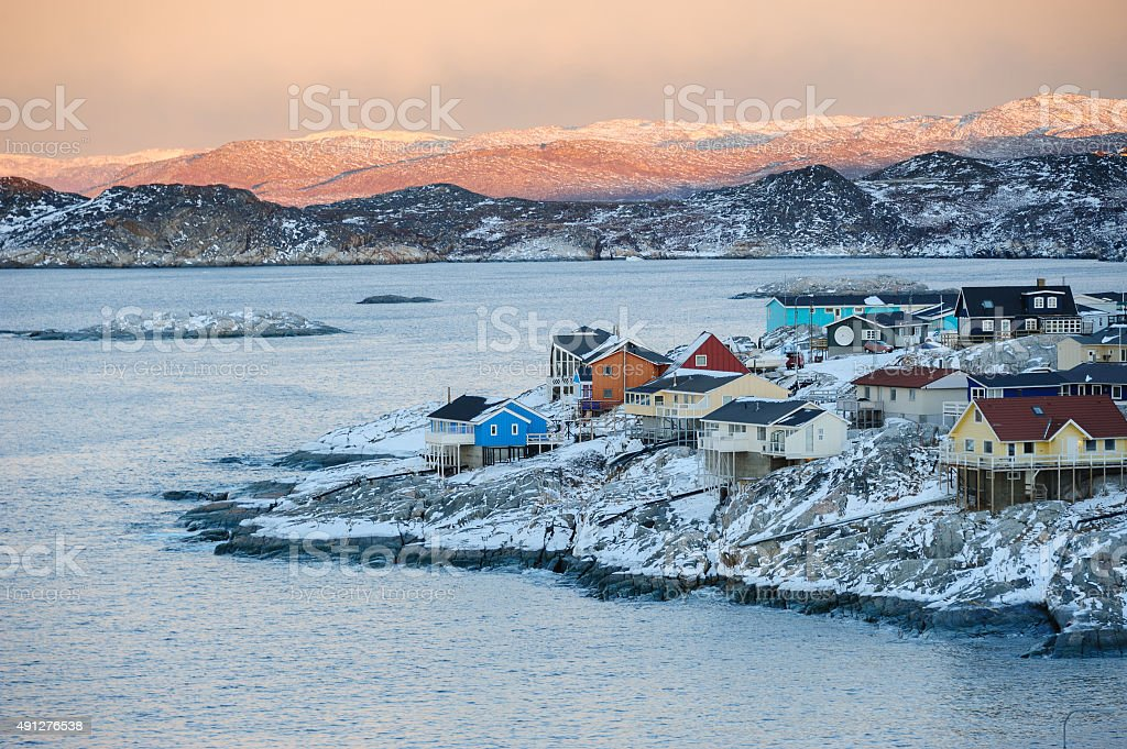 Colorful Ilulissat in Sunset, Greenland stock photo