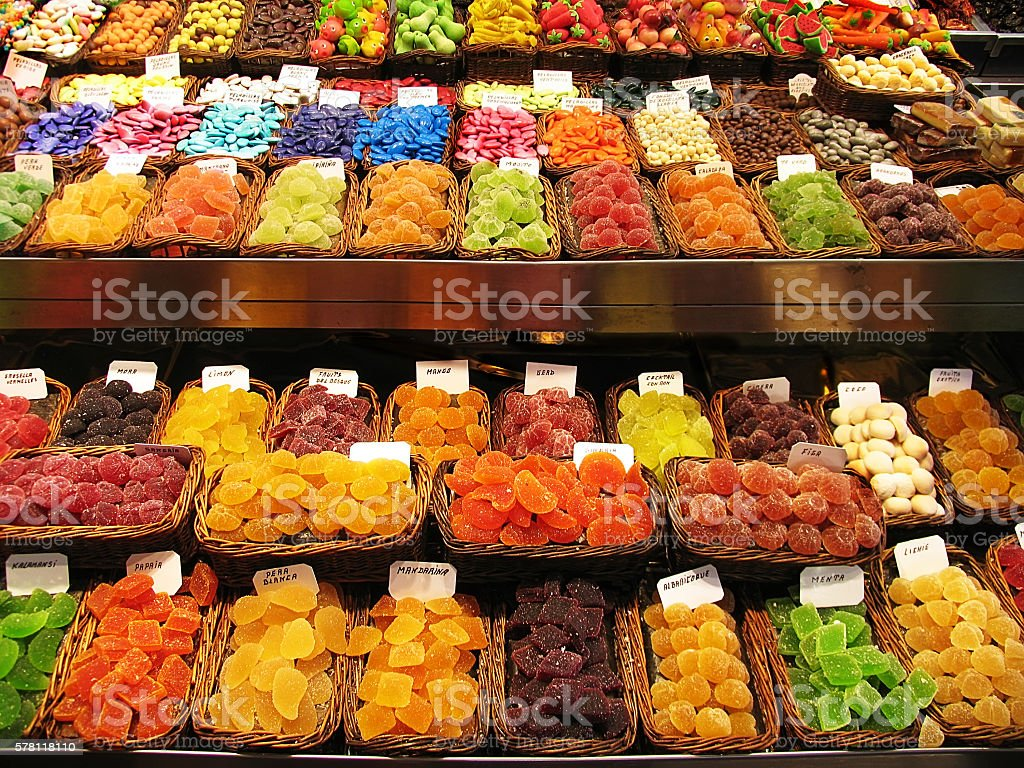 Colorful image of various sweets at market stall stock photo