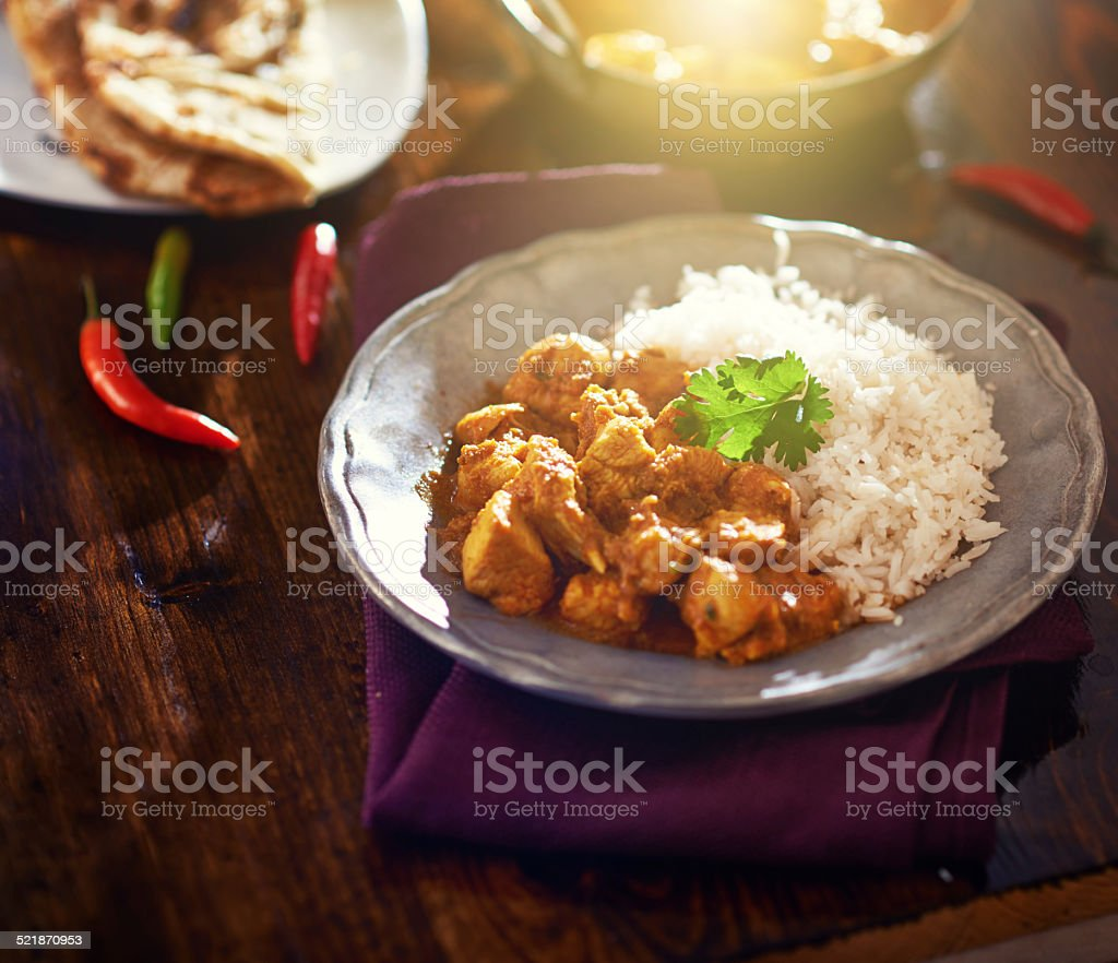 colorful indian chicken curry with lens flare stock photo
