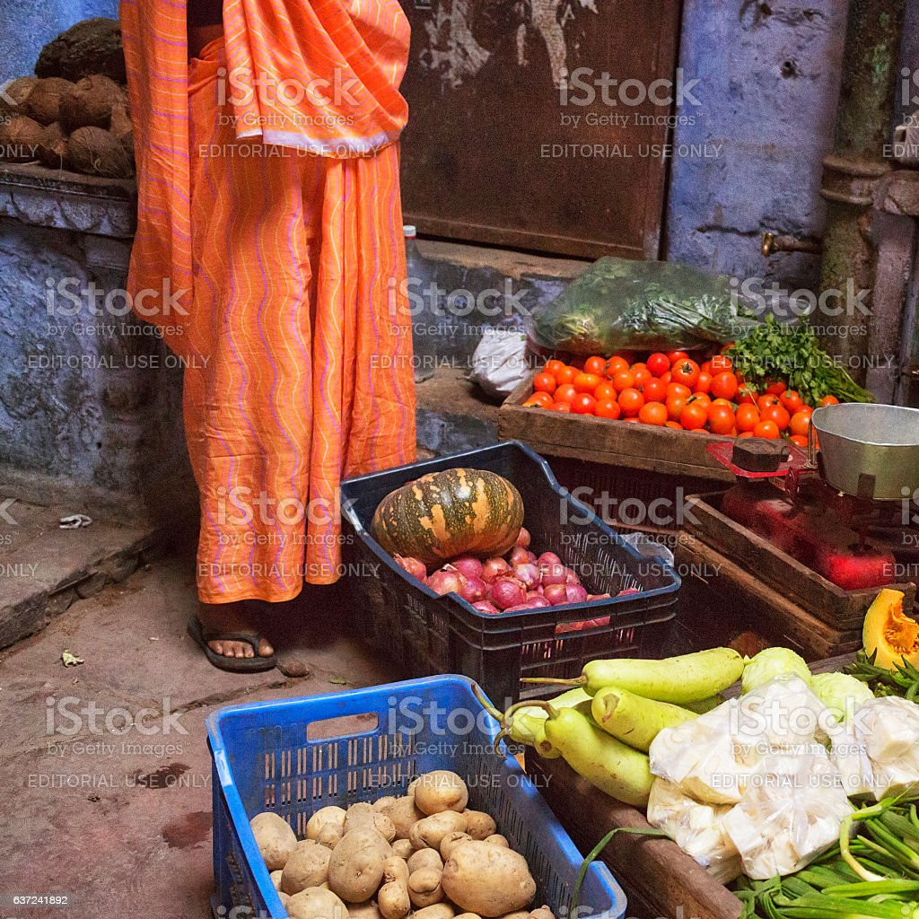 Colorful Indian Greengrocery in Varanasi stock photo