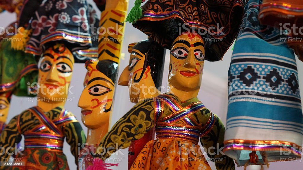 Colorful Indian puppets for sale - Indian Dolls stock photo
