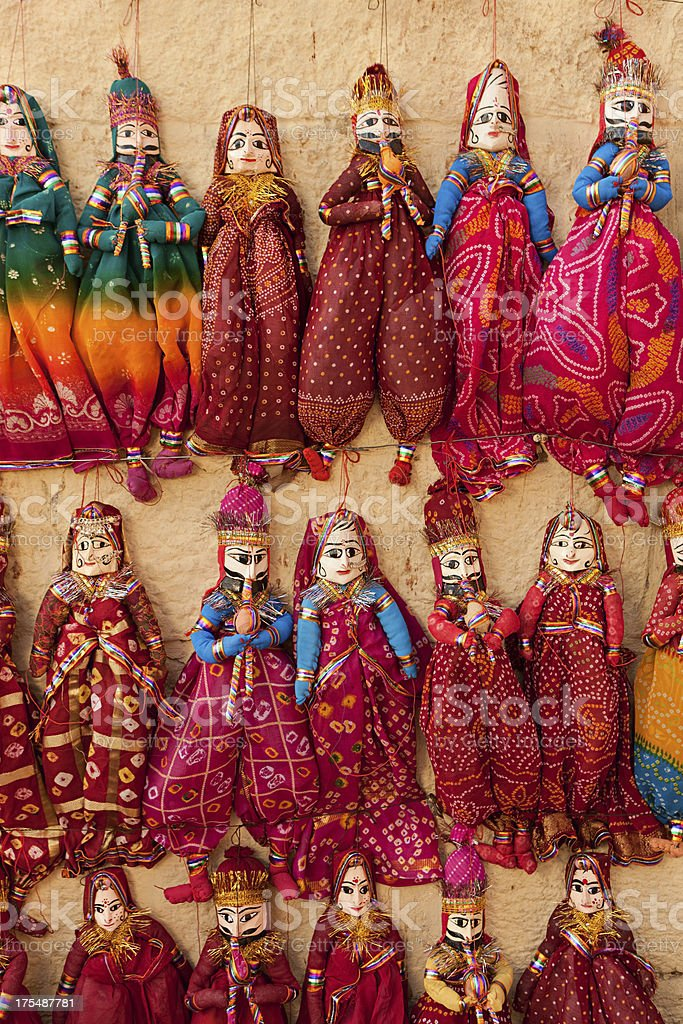 Colorful Indian puppets for sale royalty-free stock photo