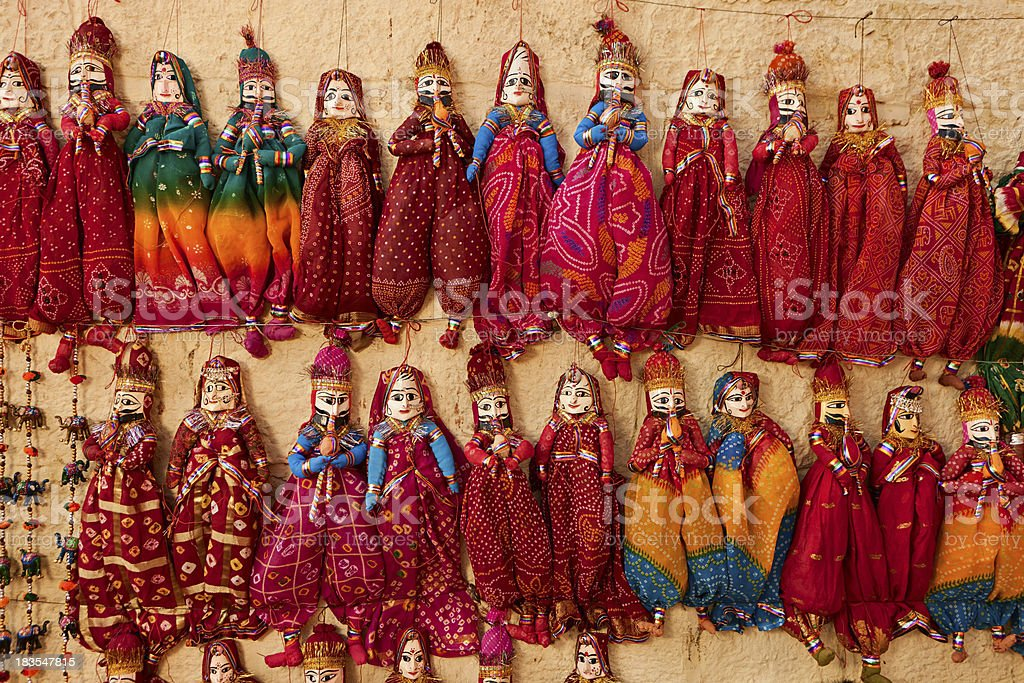 Colorful Indian puppets for sale. royalty-free stock photo