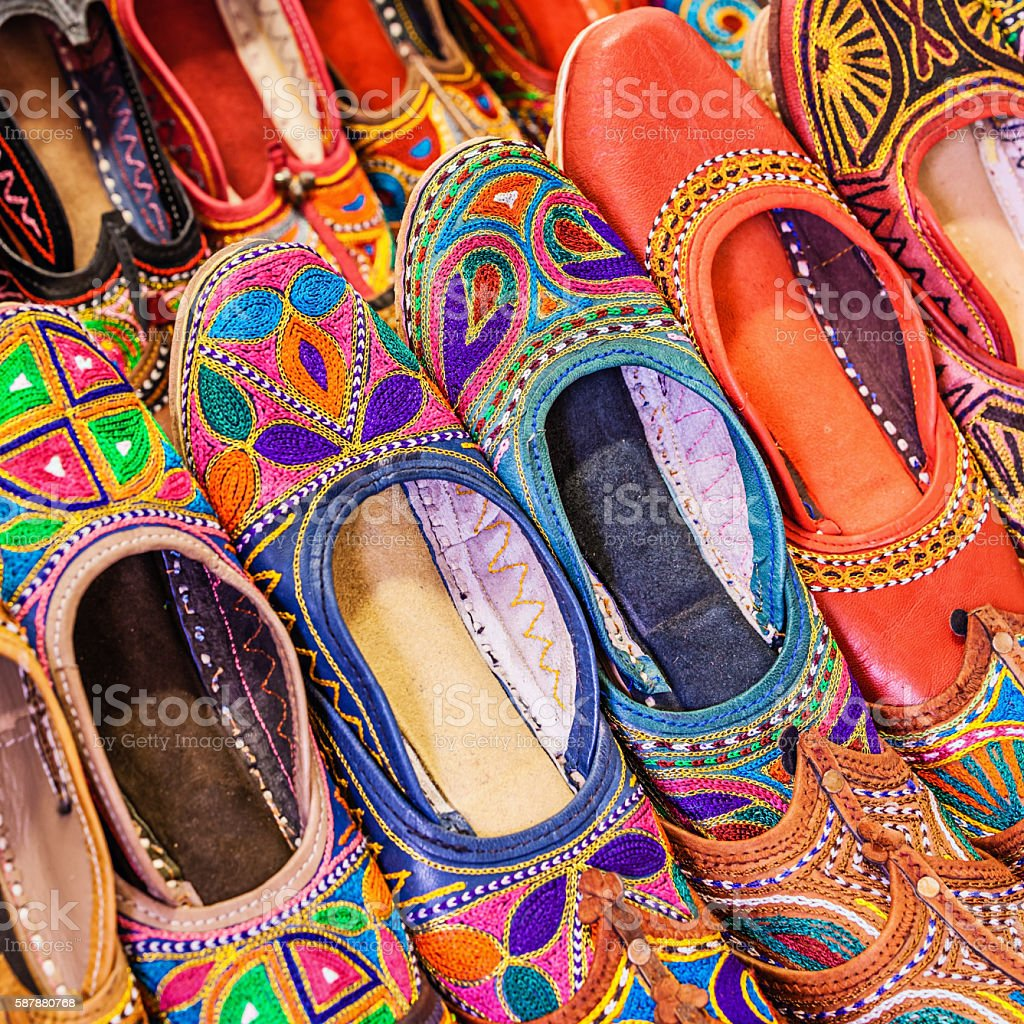 Colorful Indian shoes for sale on bazaar, Rajasthan stock photo