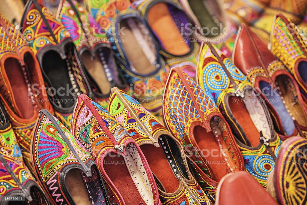 Colorful Indian shoes for sale royalty-free stock photo