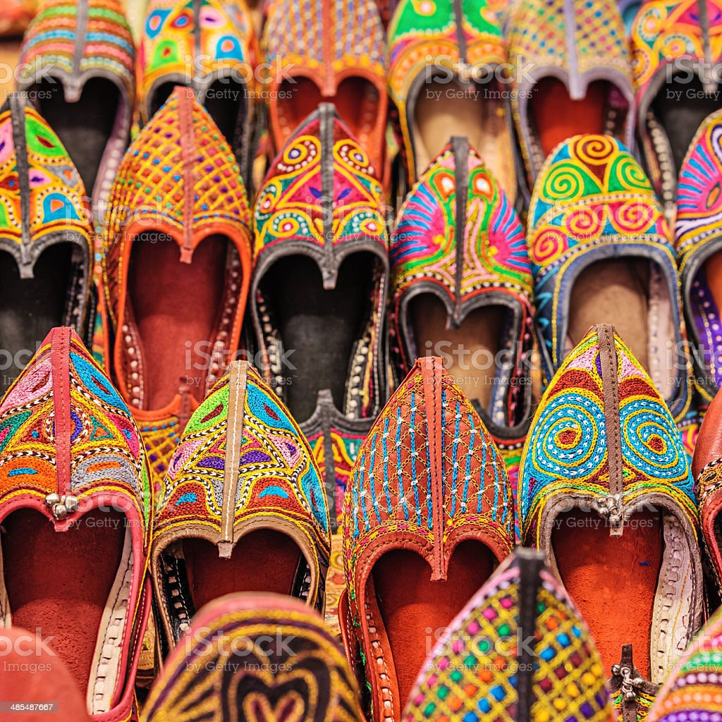 Colorful Indian shoes for sale stock photo
