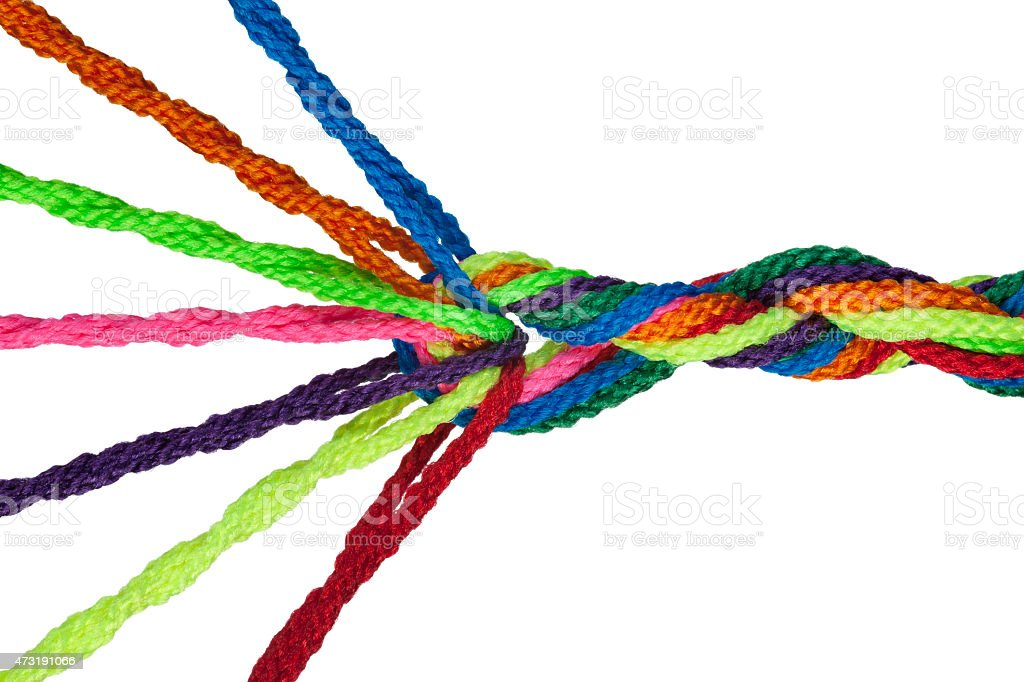 Colorful Individuals Joining Together As Team, Union, Business or Network. stock photo