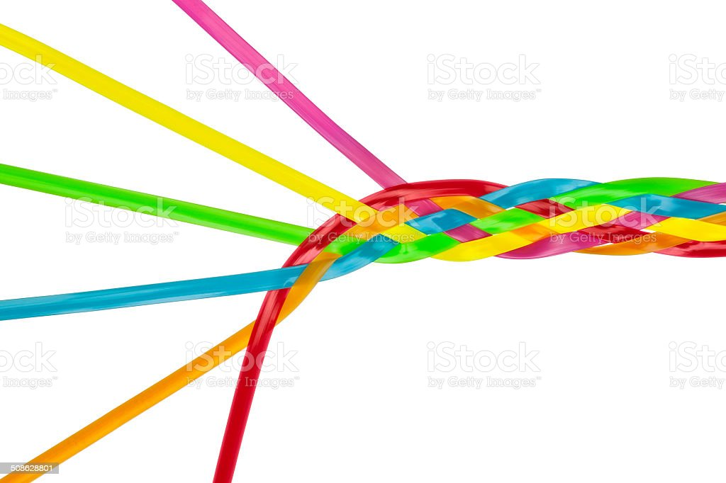 Colorful Individuals Joining Together As Team, Union, Family or Network stock photo