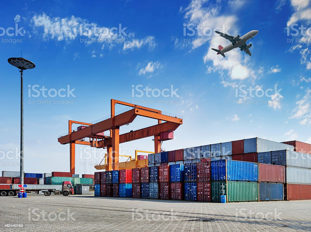 A colorful industrial port with containers stock photo