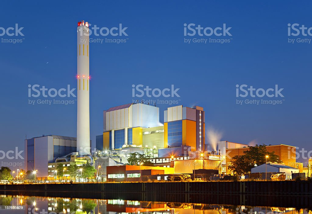 Colorful Industry At Night stock photo