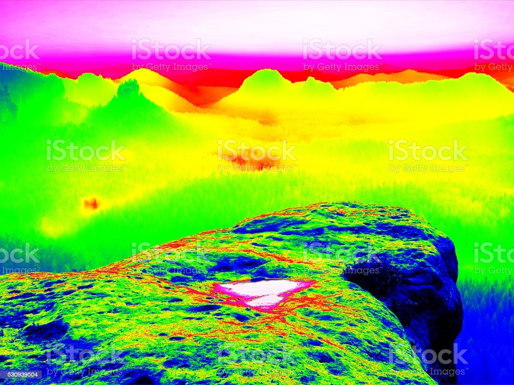 Colorful infrared photo scan of valley Amazing thermography colors stock photo