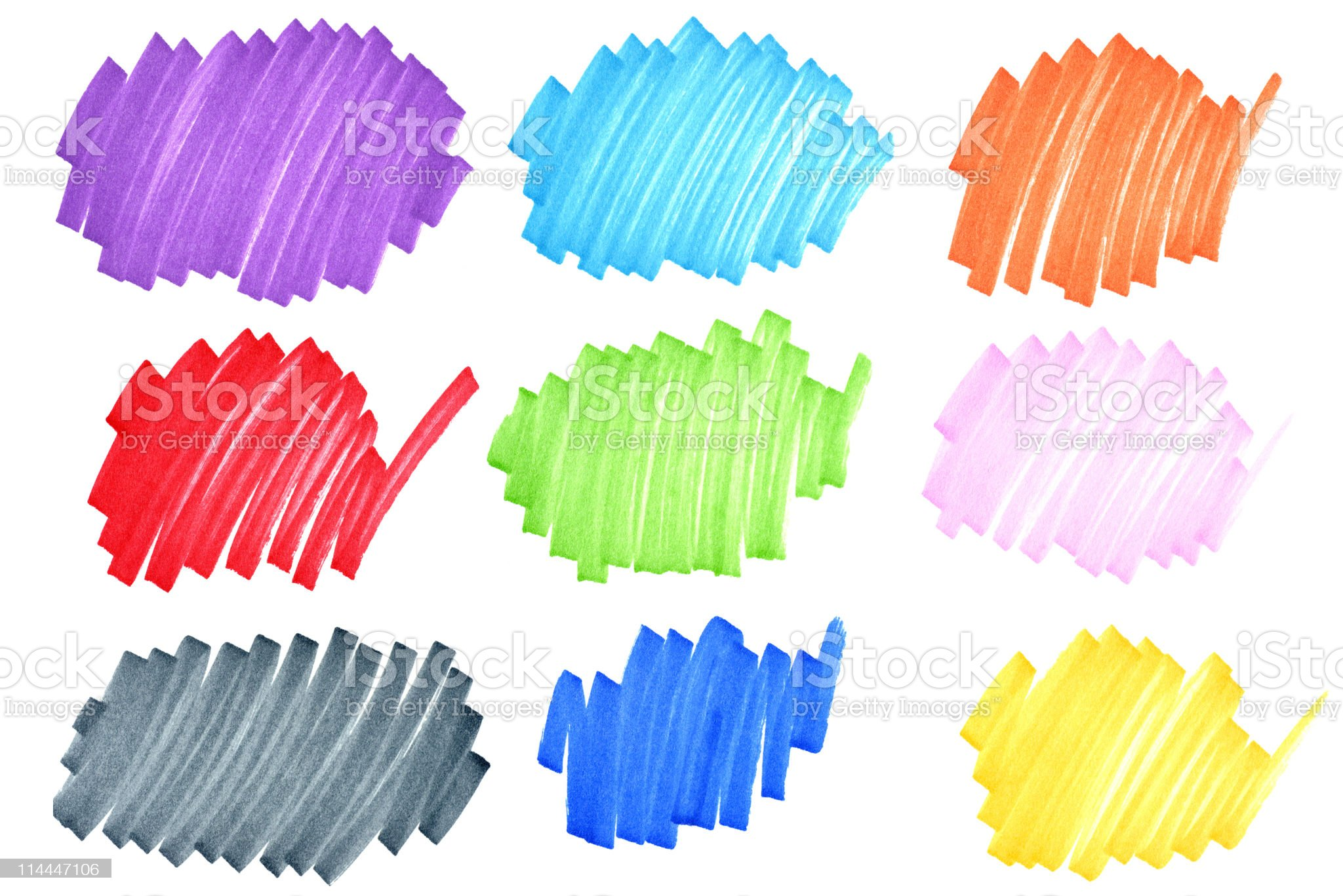 Colorful ink doodles royalty-free stock photo