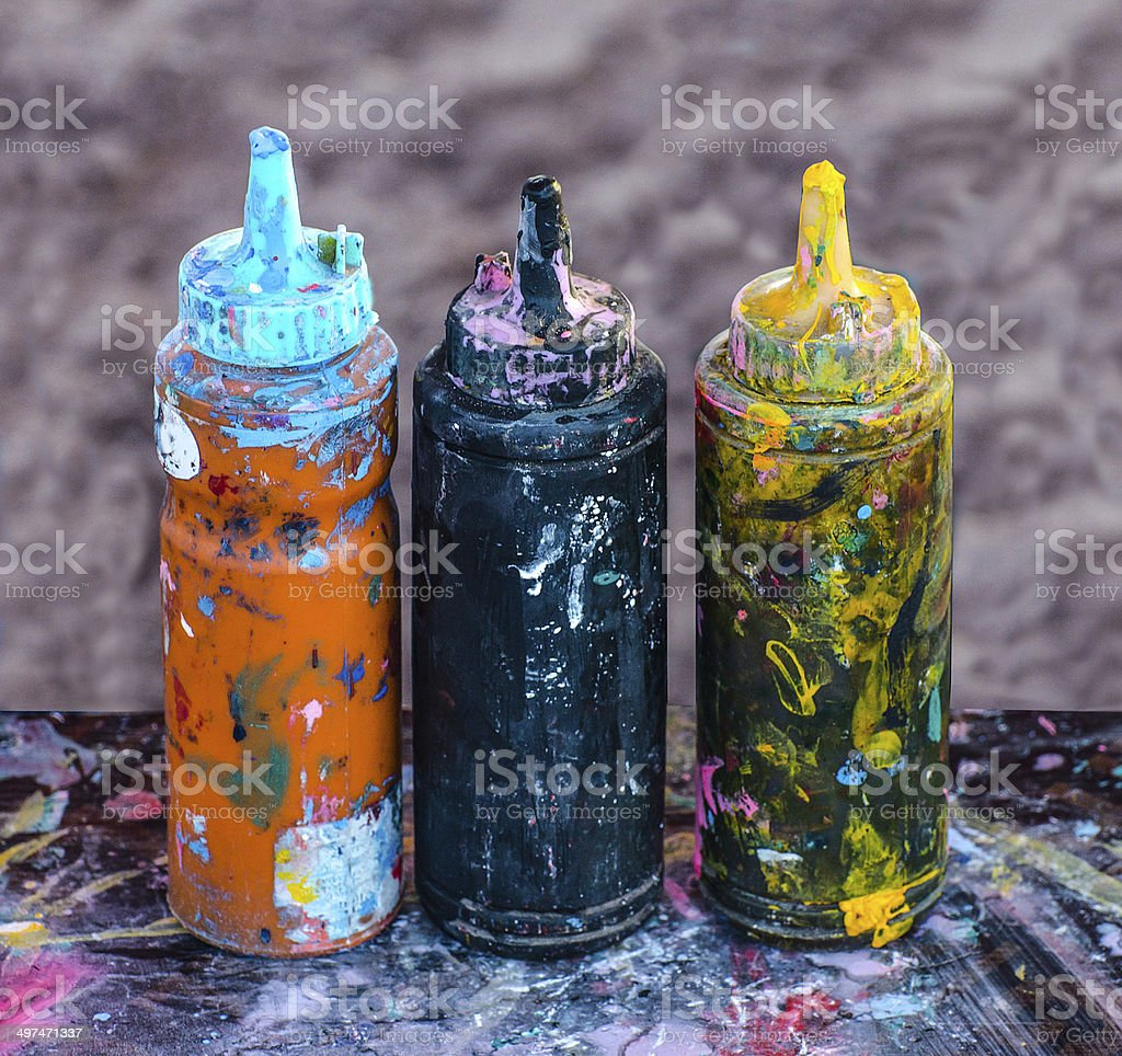 Colorful ink in plastic  bottles royalty-free stock photo