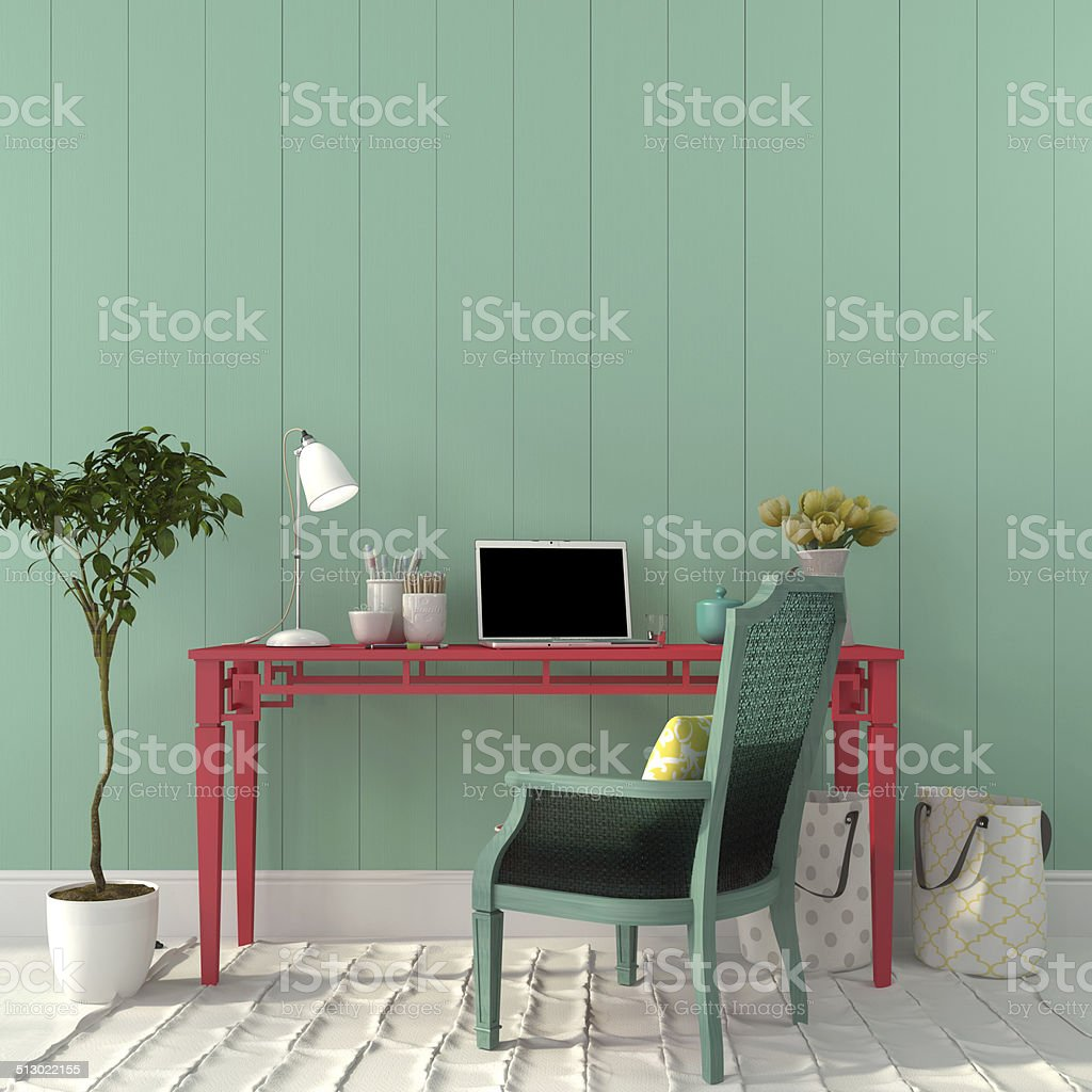 Colorful interior of  home office stock photo