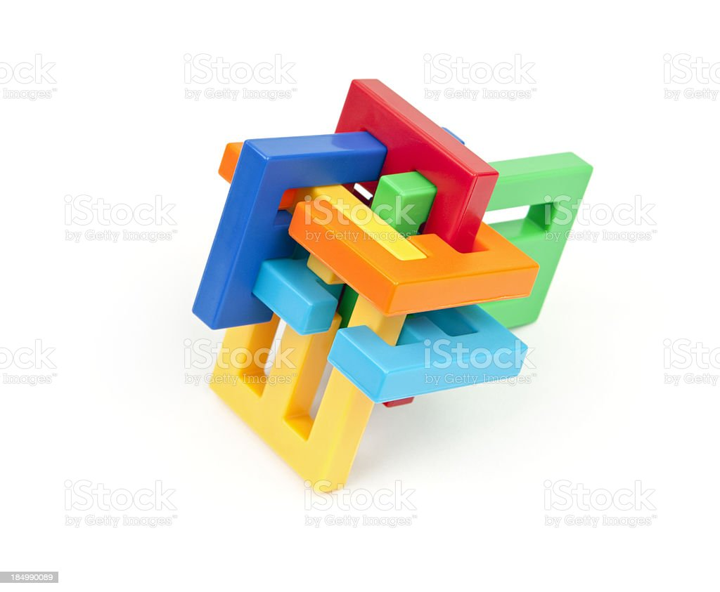 Colorful Interlocking Puzzle stock photo