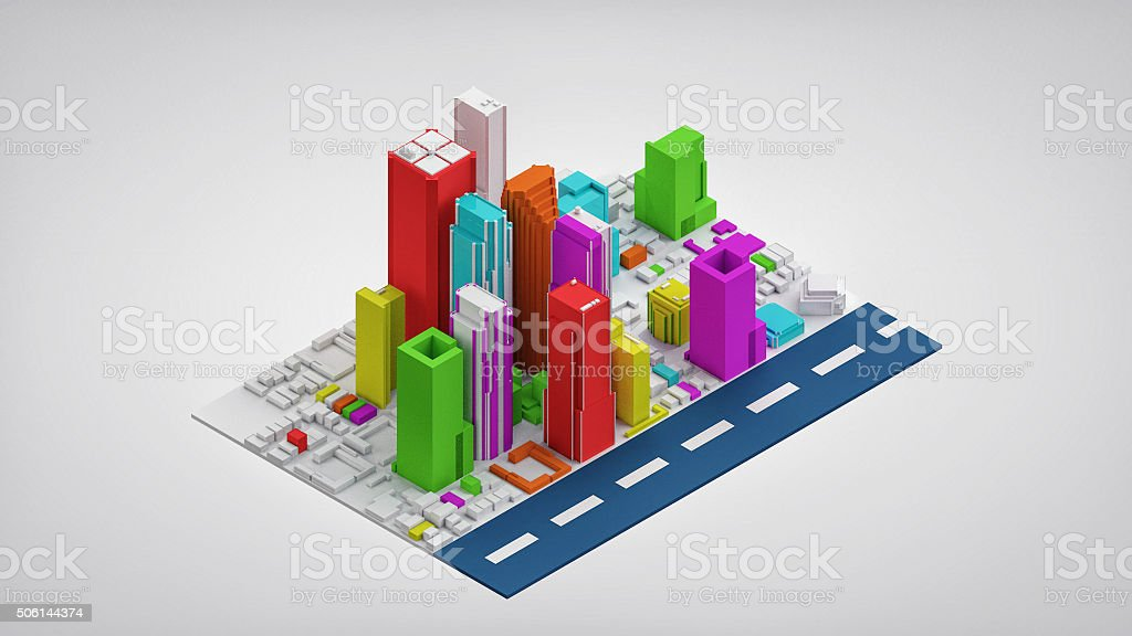 Colorful Isometric City Isolated (3D Render) stock photo