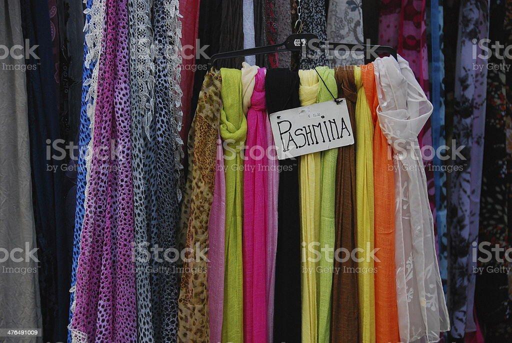 Colorful Italian Silk Pashmina for sale. royalty-free stock photo