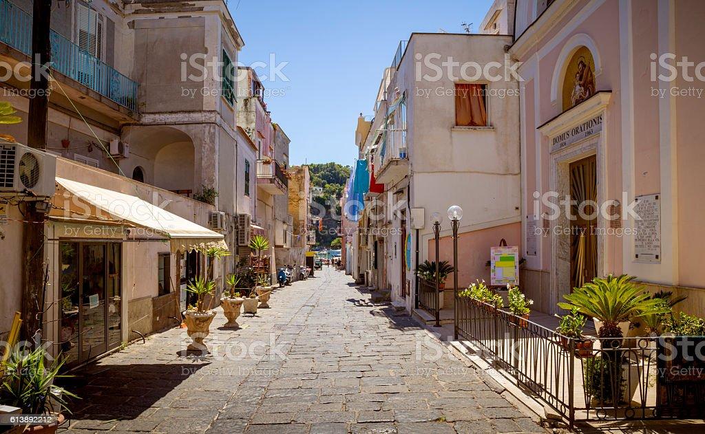 Colorful italian street on Procida Island, Italy stock photo