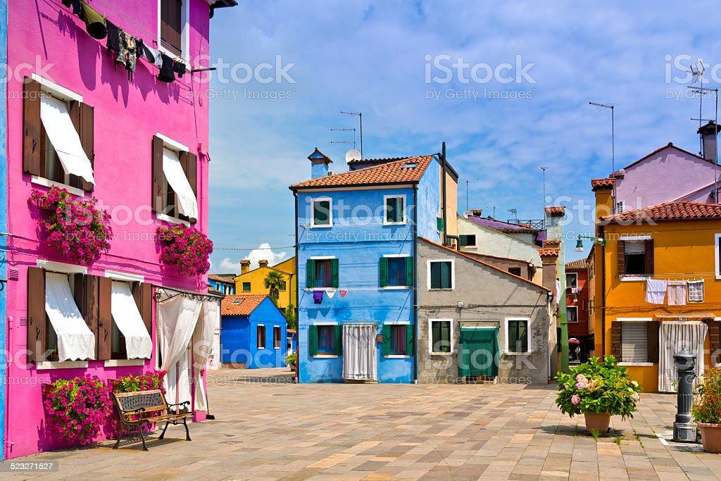 colorful italian town Burano near Venice stock photo