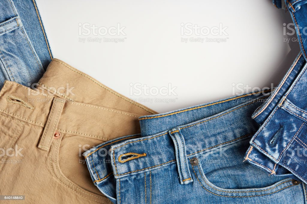 Colorful jeans frame stock photo