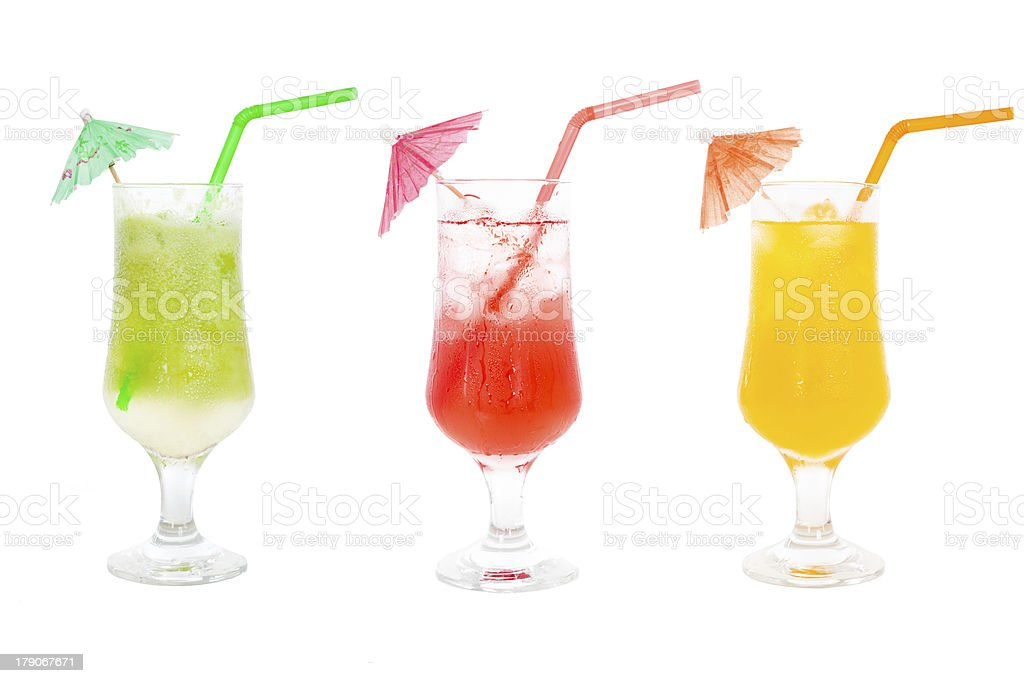 Colorful juice cocktails collection royalty-free stock photo