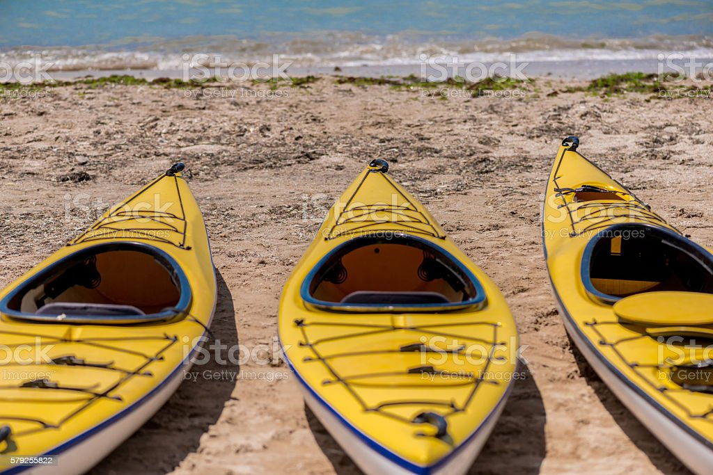 Colorful kayaks align the water stock photo