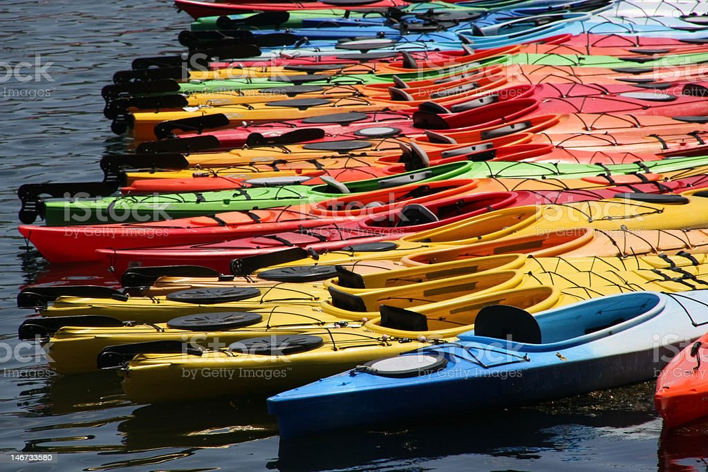 Colorful Kayaks stock photo