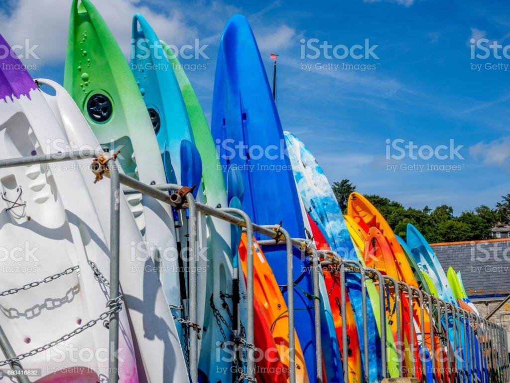 Colorful Kayaks stock photo